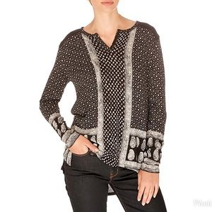 Lucky Brand Paisey Long Sleeve Blouse Small